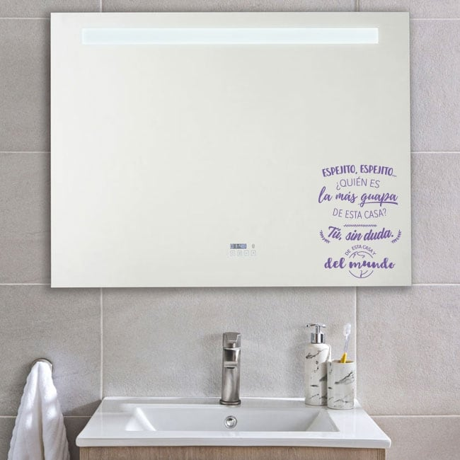 Decorative vinyl and stickers sentence mirror, mirror