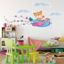 Vinyl stickers for children or youth fox and plane