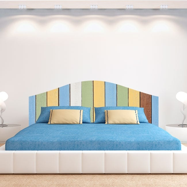 Vinyl headboards bed colorful wooden boards