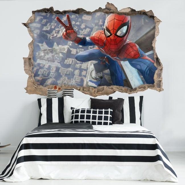 Decorative stickers 3d spiderman selfie