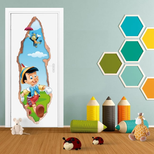 Children's vinyl doors 3d pinocchio and jiminy cricket