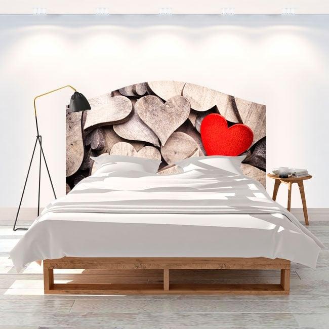 Vinyl headboards beds wood hearts