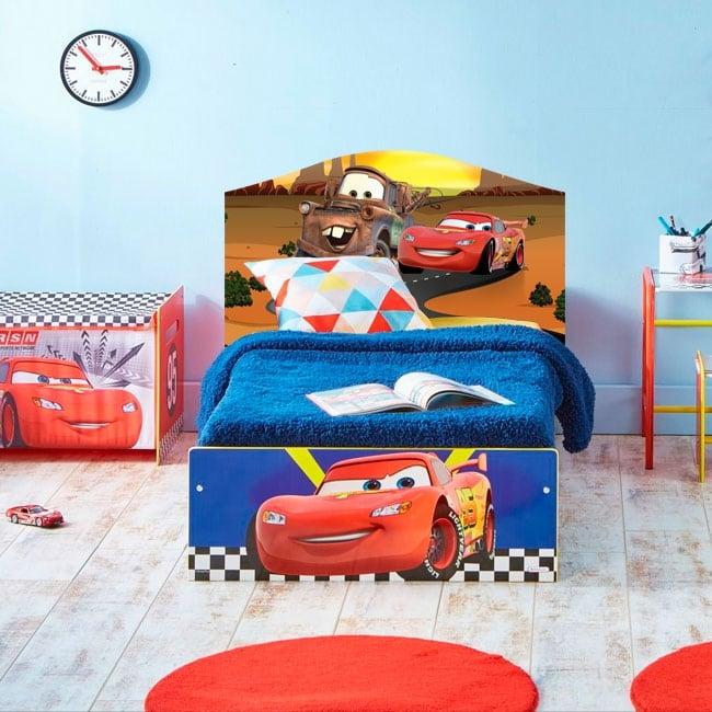 Children's vinyl disney cars 2 bed headboard