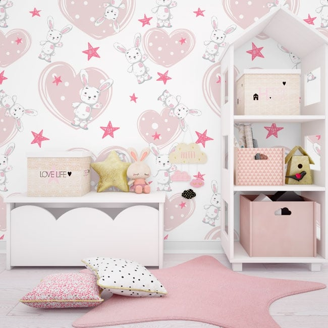 Wall mural rabbits with stars and hearts
