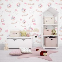 Wall murals for children unicorns and hearts