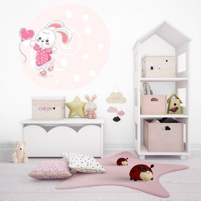 Children's or youth vinyl rabbit with heart balloon