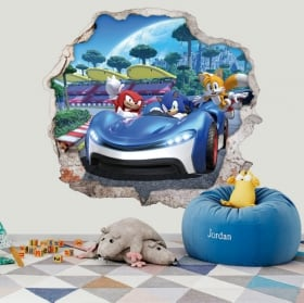 Vinyl decorative 3d video game team sonic racing