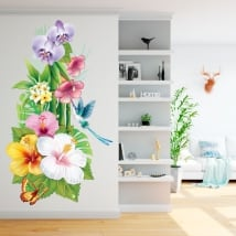 Vinyl for walls hummingbird and butterfly flowers