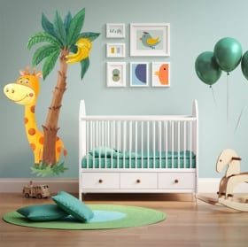 Children's or baby's vinyl giraffe and watercolor palm tree