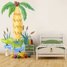 Children's vinyl crocodile and palm tree