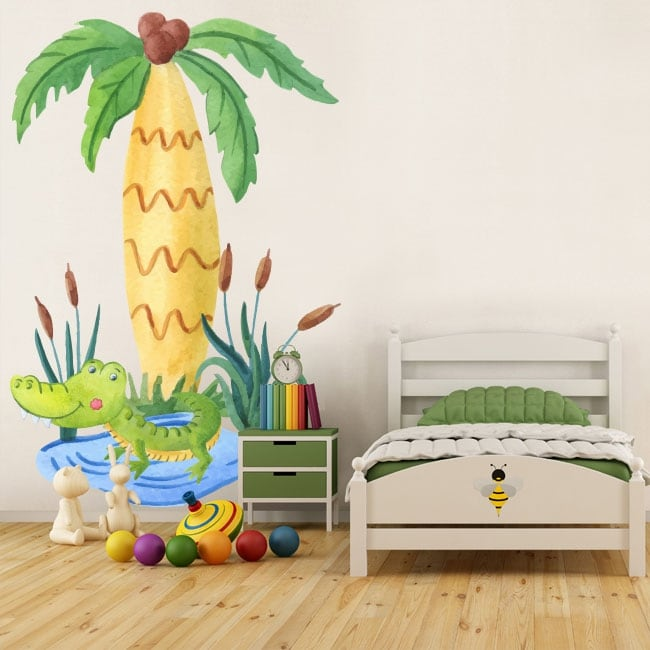 Children's vinyl crocodile and palm tree