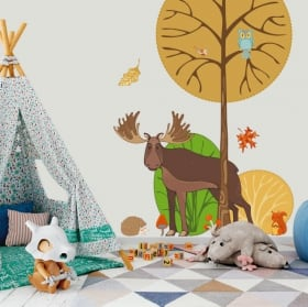 Vinyl children and youth forest animals