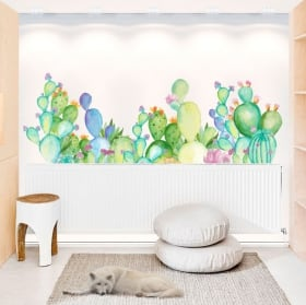 Wall decals watercolor cactus plants