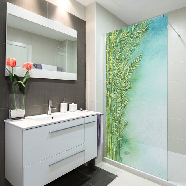 Vinyls screens watercolor bamboo plants