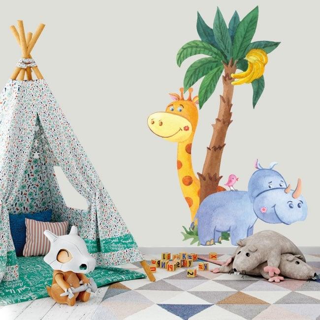 Children's vinyl giraffe with rhinoceros and bird watercolor
