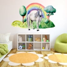 Children's or youth vinyl unicorn and rainbow