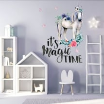 Decorative vinyl unicorn with phrase in english