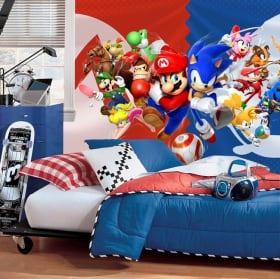 Wall murals videogame mario bros and sonic olympic games