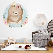 Baby or children's vinyl bear and little bird
