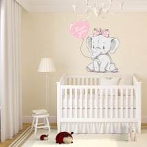 Vinyl elephant for girls with phrase love you