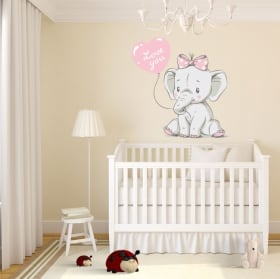 Baby or children's vinyl elephant with phrase love you