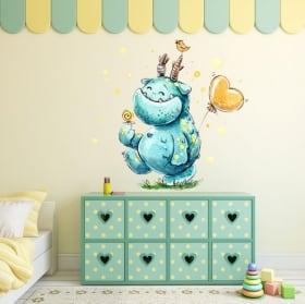 Children's or youth vinyl happy monster in watercolor