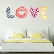 Wall murals text love in watercolor