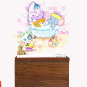 Baby or children's vinyl animals bathing