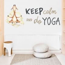 Vinyl and stickers giraffe with phrase in english keep calm yoga