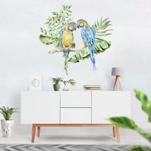 Wall decal parrots or macaws in watercolor