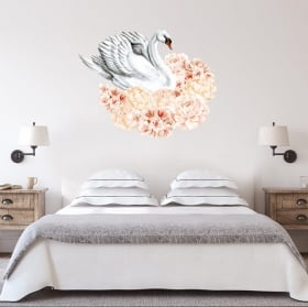 Decorative vinyl and stickers swans with flowers