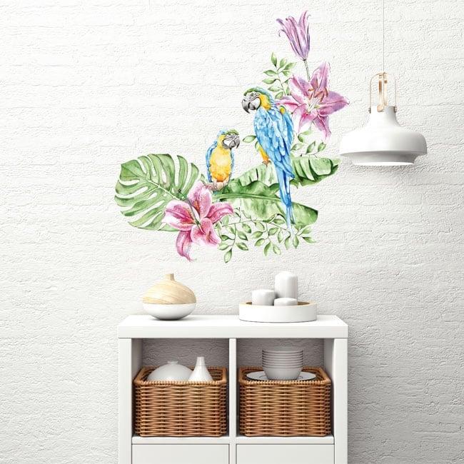 Vinyl walls parrots or macaws in watercolor