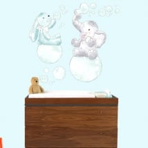Children's or baby vinyl animals with soap bubbles