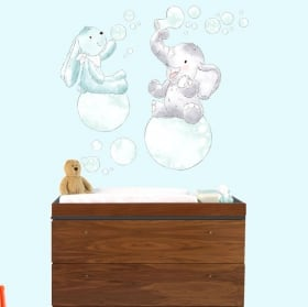 Baby or children's vinyl animals bathing