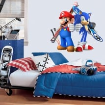 Decorative vinyl mario bros and sonic olympic games