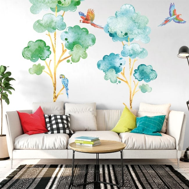 Vinyl and stickers trees with parrots or macaws
