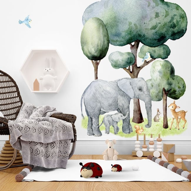 Wall stickers animals and nature in watercolor