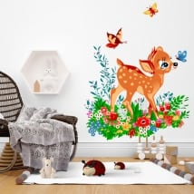 Vinyl and stickers for children bambi with butterflies