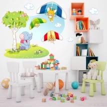 Wall stickers children's animals hang gliding