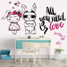 Vinyl and stickers rabbits phrases all you need is love