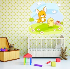 Vinyl and stickers for children or baby fox and chick