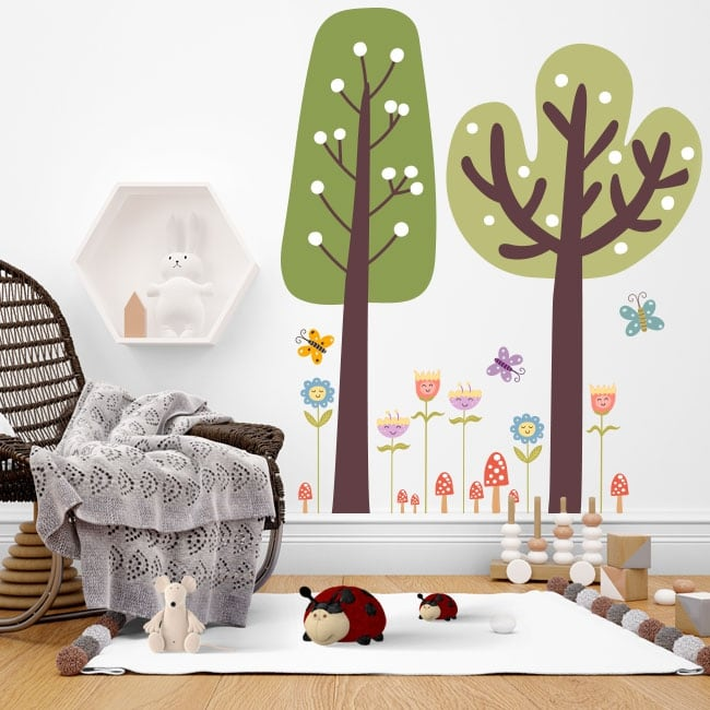 Wall stickers trees with flowers and butterflies