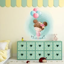 Children's decorative vinyl girl with balloons
