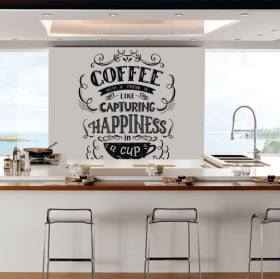 Vinyl and stickers kitchen phrase english coffee