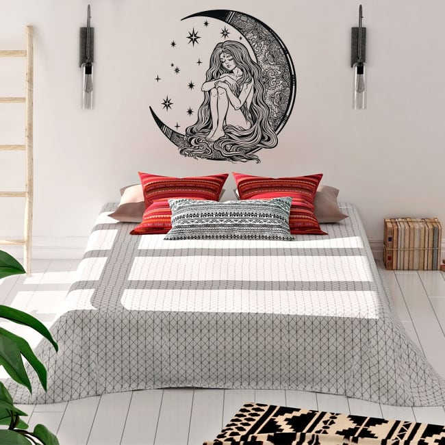 Vinyl and stickers silhouette of woman on the moon
