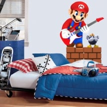 Vinyl and stickers videogame mario bros with guitar