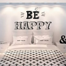 Decorative vinyl english phrases be happy