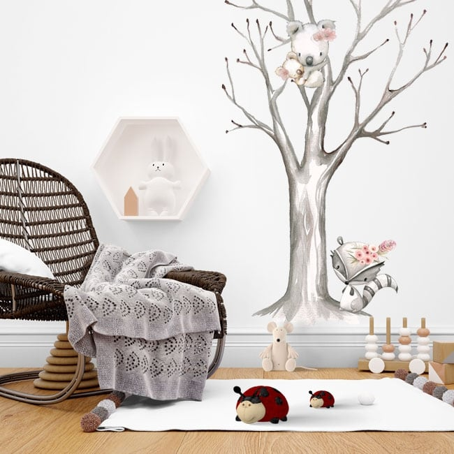 Wall stickers raccoon and koalas on the tree