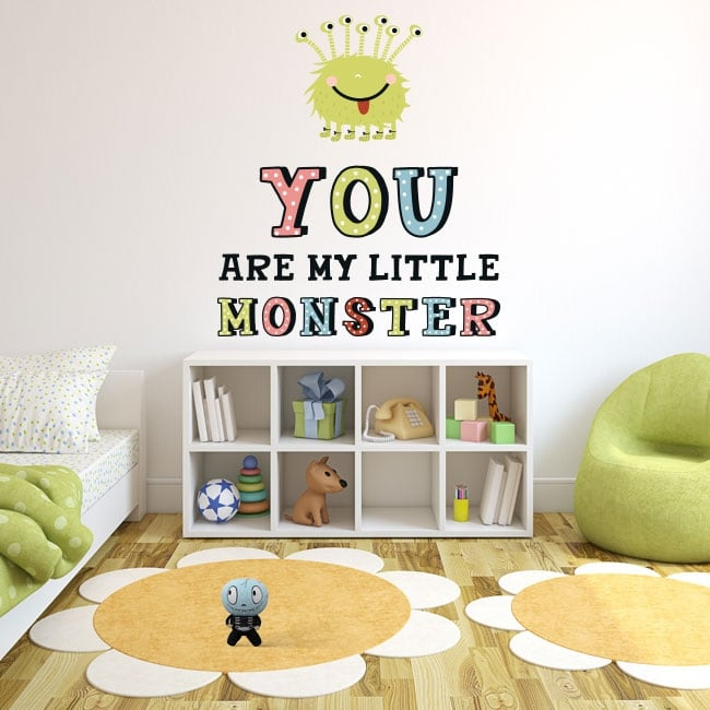 Children's or youth stickers monster with phrase in english