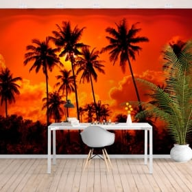 Wall mural palm trees sunset on the beach